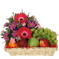 Delicious Fruit Basket with Lovely Flowers