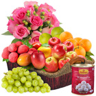 Fresh Fruits and Haldiram Rasgulla Basket added with Rose Bouquet