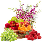 Special Fresh Fruits Basket with Orchids