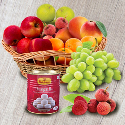 Natures-Finest Fresh Fruits Basket with Haldiram Rasgulla