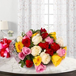 Lovely Bouquet of 24 Mixed Roses
