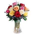Touching Bright and Brimming 12 Mixed Roses in a Vase