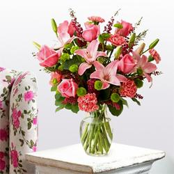 Breathtaking Carnations, Lilies and Roses Arrangement with Lots of Love