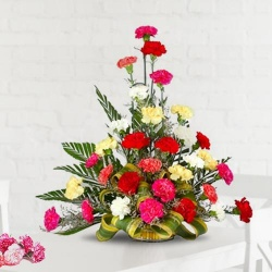 Appealing 30 Mixed Carnations Arrangement
