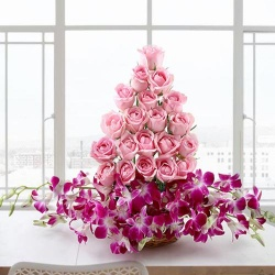 Exclusive Arrangement of Orchids and Roses