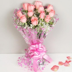 Beautiful Twelve Dutch Pink Roses Bunch with Love