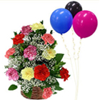 Sophisticated Basket of Mixed Carnations with Balloons