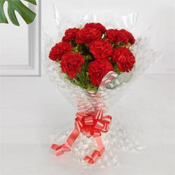 Blushing Carnation Bunch in Red Colour<br>