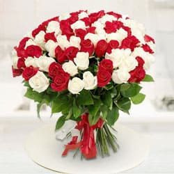 Divine Charm Red  N  White Roses Premium Bouquet
