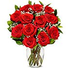 Glorious Red Roses in a Glass Vase