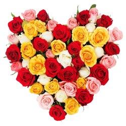 Bright Heart Shape Arrangement of Colorful Roses