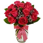 Pretty Red Roses in a Glass Vase