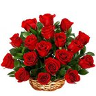 Stunning Display of Red Roses in a Basket