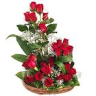 Classic Selection of 25 Dutch Red Roses in a Basket