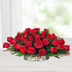 Stylish Basket of Red Roses with Fillers