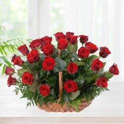 Charming Red Roses Basket