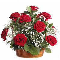 Happy Birthday Red Roses Arrangement