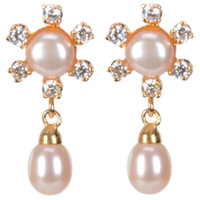 Splendid Flower Shaped Pearl Earrings Decked with AD Stones<br>