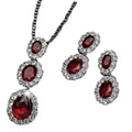 Intricate Designer Triple Oval Pendant and Earrings Set from Avon