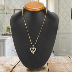 Fancy Heart Shaped Gold Pendant with Ad