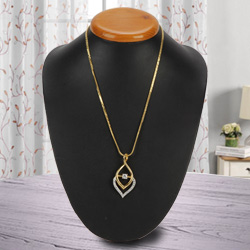 Graceful Fernanda Pendant with Flame Gold Plated Necklace