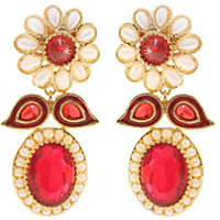 Charismatic Earring Set in White N Red Color
