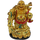 Extraordinary Standing Laughing Buddha Idol with a Bag of Gold on his Shoulder