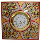 Exquisite Floral Square Marble Table Clock
