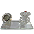 Fabulous Crystal Table Clock Stand with Ganesh Idol