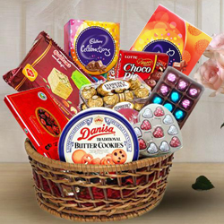 Festive Greetings Gift Basket of Assorted Chocolates   Sweets