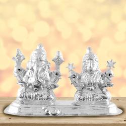 Attractive Idol of Silver Plated Laxmi Ganesh