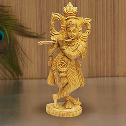 Attractive Sandalwood Statue of Lord Krishna
