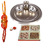 Delectable 250 gm. Mixed Dry Fruits with Silver Plated Thali