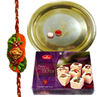 Extravagant Gift of Delicious 100 Gms of Soan Papri from Haldirams along with Enigmatic Gold Plated Thali