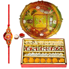 Delicious Assorted <font color=#FF0000>Haldiram</font> and Decorative Rakhi Thali