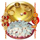 Special Gold Thali with <font color=#FF0000>Haldiram</font>s Badam Katli with Free Rakhi
