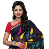 Dazzling Dani Georgette Printed Saree in Black and Grey