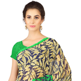 Fashionable Black and Green in Colour Weightless Georgette Printed Saree