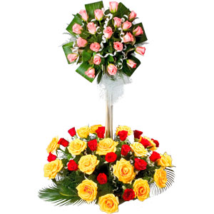 Blushing 50 Mixed Roses of 2 Tier Arrangement