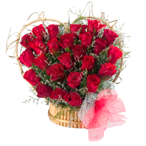 Expressive Heart Shaped Arrangement of 24 Red Roses