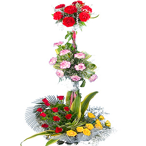 Classic 3 Tier Assortment of Carnations, Roses and Mixed Blossoms